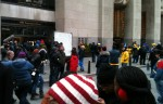 Scene outside 30 Rockefeller Center during exteriors filming for the show 30 Rock